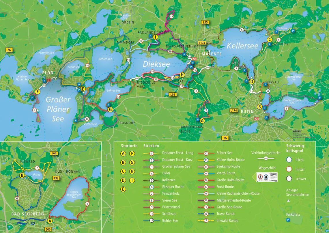 Holsteinische Schweiz Karte.Nordic Walking 21 Routen Durch Die Holsteinische Schweiz